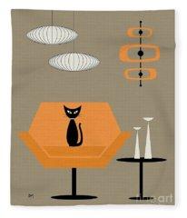 Mod Chair In Orange Fleece Blanket