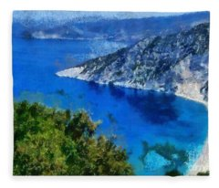 Myrtos Beach In Kefallonia Island Fleece Blanket