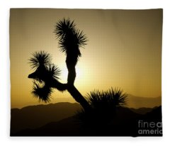 New Photographic Art Print For Sale Joshua Tree At Sunset Fleece Blanket