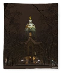 Notre Dame Golden Dome Snow Fleece Blanket