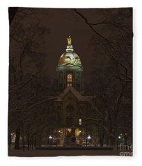 Notre Dame Golden Dome Snow Fleece Blanket