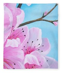 #2 Of Diptych Peach Tree In Bloom Fleece Blanket