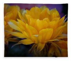 Orange Cactus Flowers  Fleece Blanket