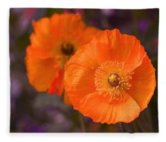 Orange Poppies Fleece Blanket