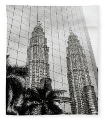 Petronas Towers Reflection Fleece Blanket
