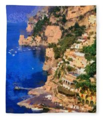 Positano Town In Italy Fleece Blanket