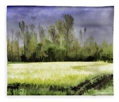 Rich Yellow Mustard Fields In Kashmir Fleece Blanket