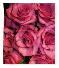Rosebouquet In Pink Fleece Blanket
