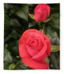 Roses In Red Fleece Blanket