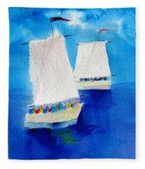 2 Sailboats Fleece Blanket