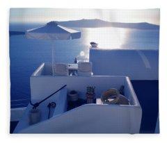 Santorini Island Greece Fleece Blanket