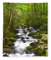 Smoky Mountain Stream Fleece Blanket