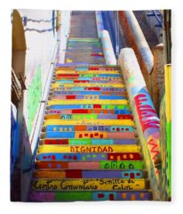 Stairway To Heaven Valparaiso  Chile Fleece Blanket
