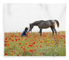 Three At The Poppies' Field... 4 Fleece Blanket