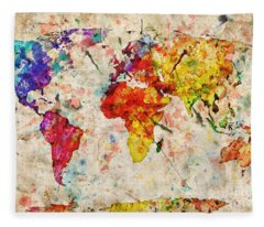 Vintage World Map Fleece Blanket
