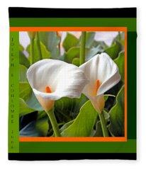 2 White Lily Flowers Fleece Blanket
