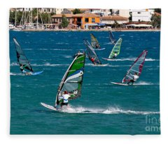 Windsurfing In Vasiliki Bay Fleece Blanket