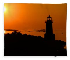 Winter Island Lighthouse Sunrise Fleece Blanket