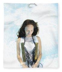 Woman Floats Underwater  Fleece Blanket