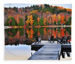 Wooden Dock On Autumn Lake Fleece Blanket