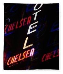 2000s Multiple Exposure Neon Sign Hotel Fleece Blanket