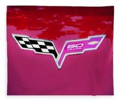 2013 Corvette 60th Anniversary Hood Logo Painted Fleece Blanket