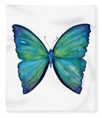 21 Blue Aega Butterfly Fleece Blanket
