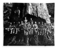 22 Loggers In Redwood Undercut -- 1884 Fleece Blanket
