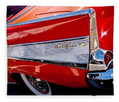 1957 Chevy Bel Air Custom Hot Rod Fleece Blanket