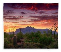 A Superstition Sunrise  Fleece Blanket