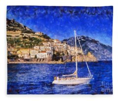 Amalfi Town In Italy Fleece Blanket