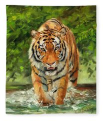Amur Tiger Painting Fleece Blanket