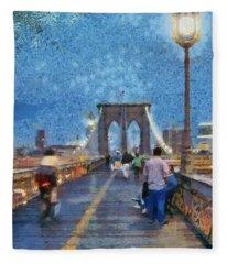 Brooklyn Bridge Promenade Fleece Blanket