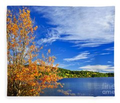 Fall Forest And Lake Fleece Blanket