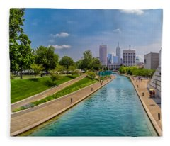 Indianapolis Skyline From The Canal Fleece Blanket