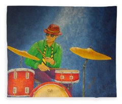 Jazz Drummer Fleece Blanket