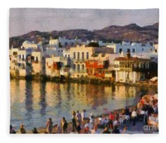 Little Venice In Mykonos Island Fleece Blanket