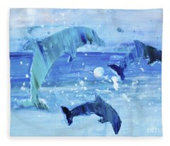 3 More Dolphins Dancing Fleece Blanket