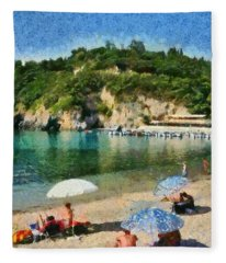 Paleokastritsa Beach Fleece Blanket