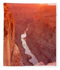 River Passing Through A Canyon Fleece Blanket