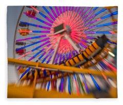 Santa Monica Pier Ferris Wheel And Roller Coaster At Dusk Fleece Blanket