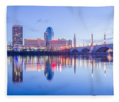 Springfield Massachusetts City Skyline Early Morning Fleece Blanket