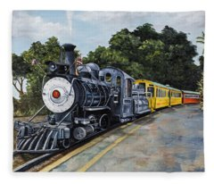 Fleece Blanket featuring the painting Sugar Cane Train by Darice Machel McGuire