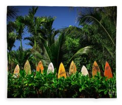 Fleece Blanket featuring the photograph Surf Board Fence Maui Hawaii by Edward Fielding
