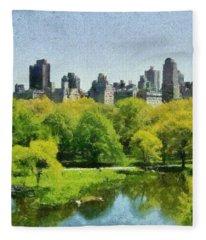 Central Park In New York Fleece Blanket