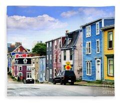 Colorful Houses In St. John's Fleece Blanket