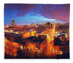 High Angle View Of A City Lit Fleece Blanket