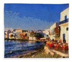 Little Venice In Mykonos Island Fleece Blanket
