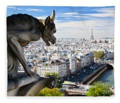 Paris Panorama France Fleece Blanket