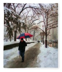 Snowfall In Central Park Fleece Blanket